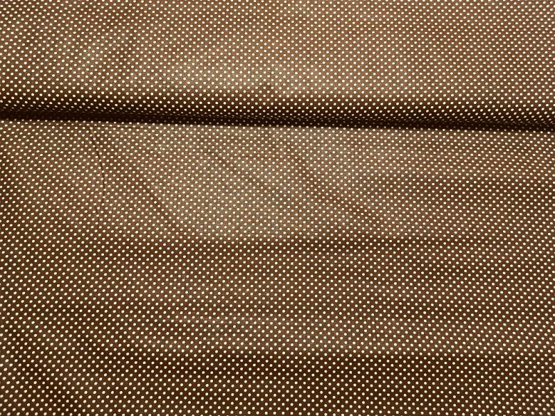 Pamut vászon barna apró pöttyös 140 cm széles