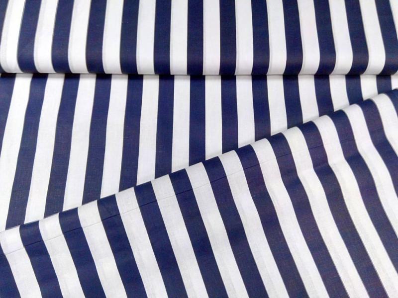 Pamut vászon kék-fehér csíkos 140 cm széles