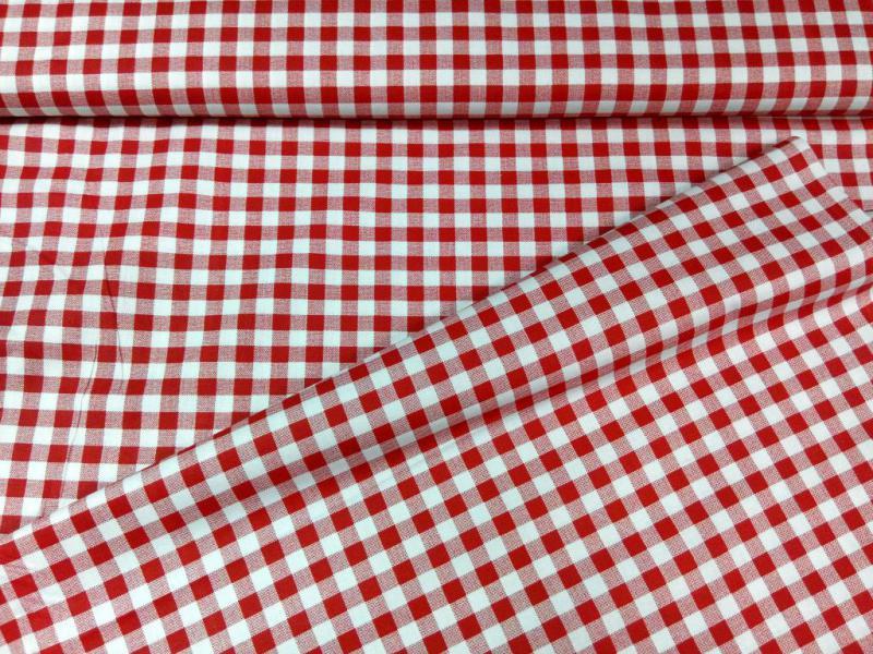 Pamut vászon piros-fehér kockás 140 cm széles