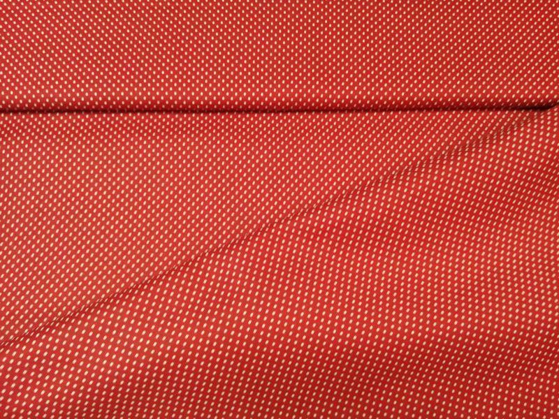 Pamut vászon piros-fehérpöttyös 140 cm széles
