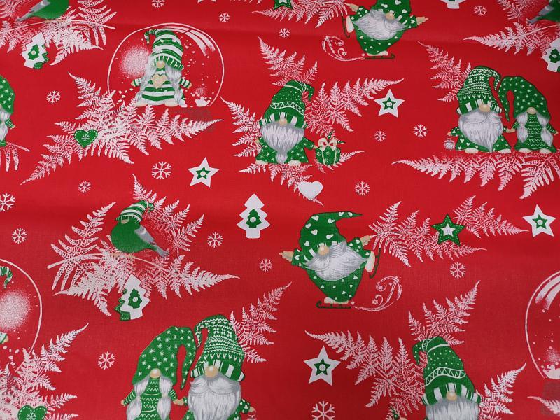 Pamutvászon kék alapon kis karácsonyi mintákkal 140 cm széles
