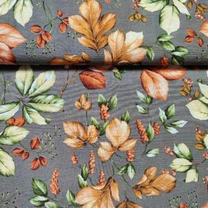 Lakástextil szürke alapon őszi levelek 140 cm széles
