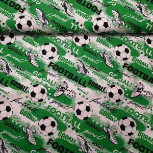 Pamutvászon zöld alapon football 160 cm széles