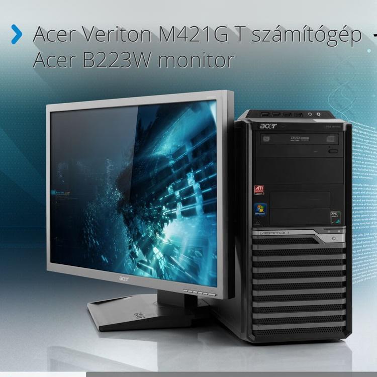 Acer Veriton M421G T (PC) számítógép+Acer B223W monitor