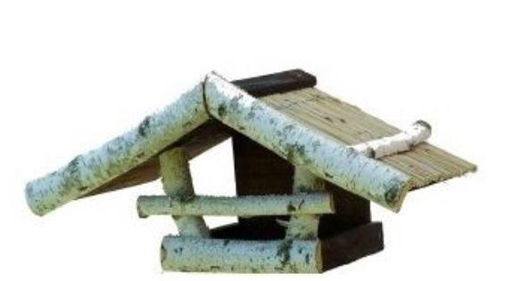 Madáretető fenyőből és nyírből nádszövet tetővel - 1005