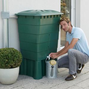 SZÖGLETES zöld esővízgyűjtő, 300 L