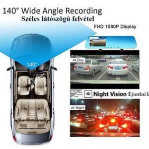 Visszapillantó tükörbe épített DVR eseményrögzítő és tolatókamera