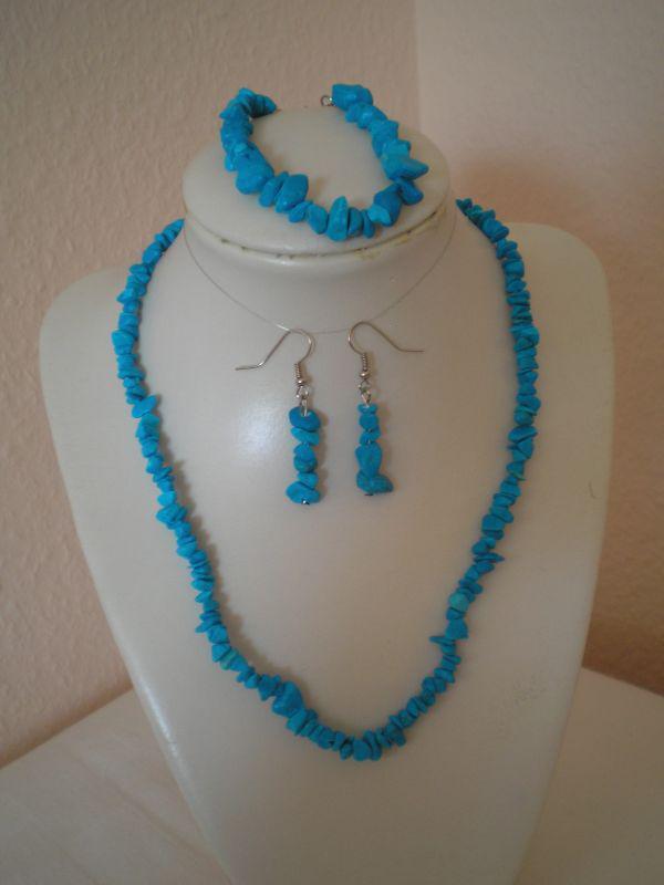 Festett türkinit nyaklánc-karlánc-fülbevaló szett