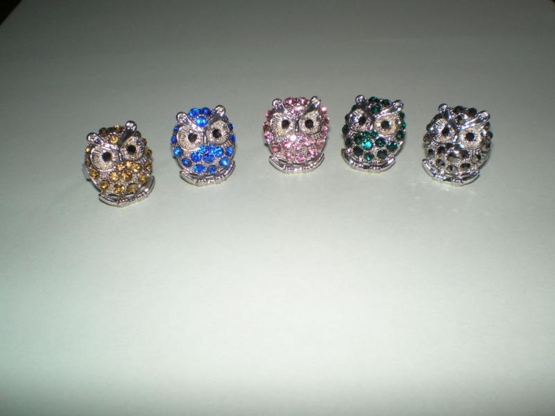 Színes strasszköves mini bagoly gyűrűk