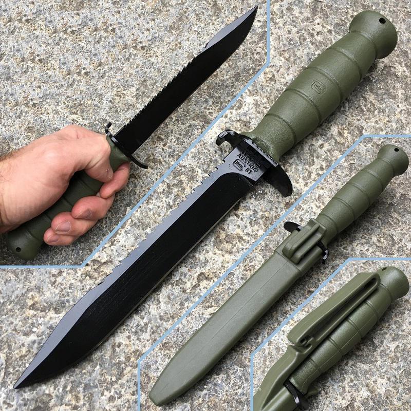 Glock 81 taktikai kés bajonett, Olive, fűrészes