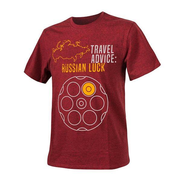 Helikon-Tex Travel Advice: Russian Luck póló - Red/Black Melange