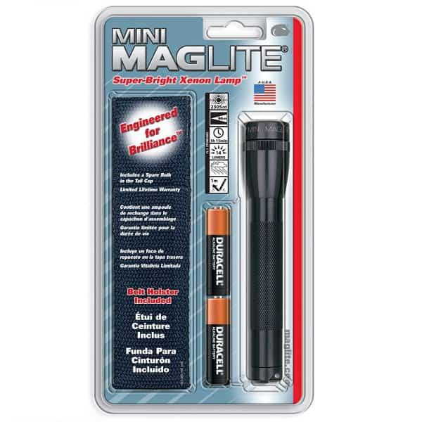 Mini MAGlite AA Black elemlámpa + övtok