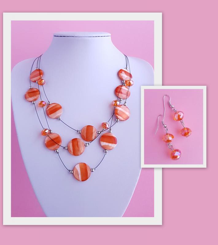 3 soros nyaklánc + fülbevaló szett /narancs/