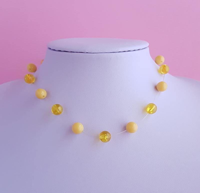 gyöngy nyaklánc /sárga/