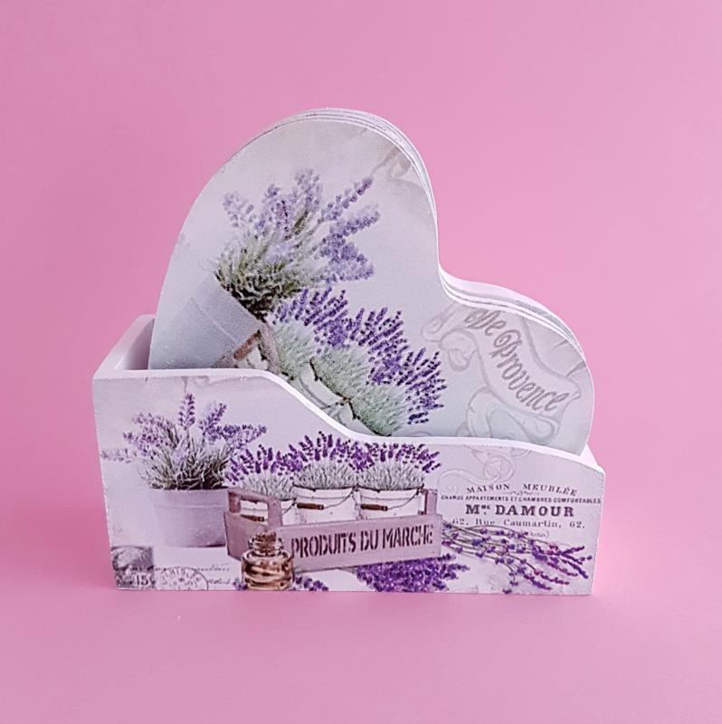 levendulás poháralátét (6 db) tartóval - szív formájú