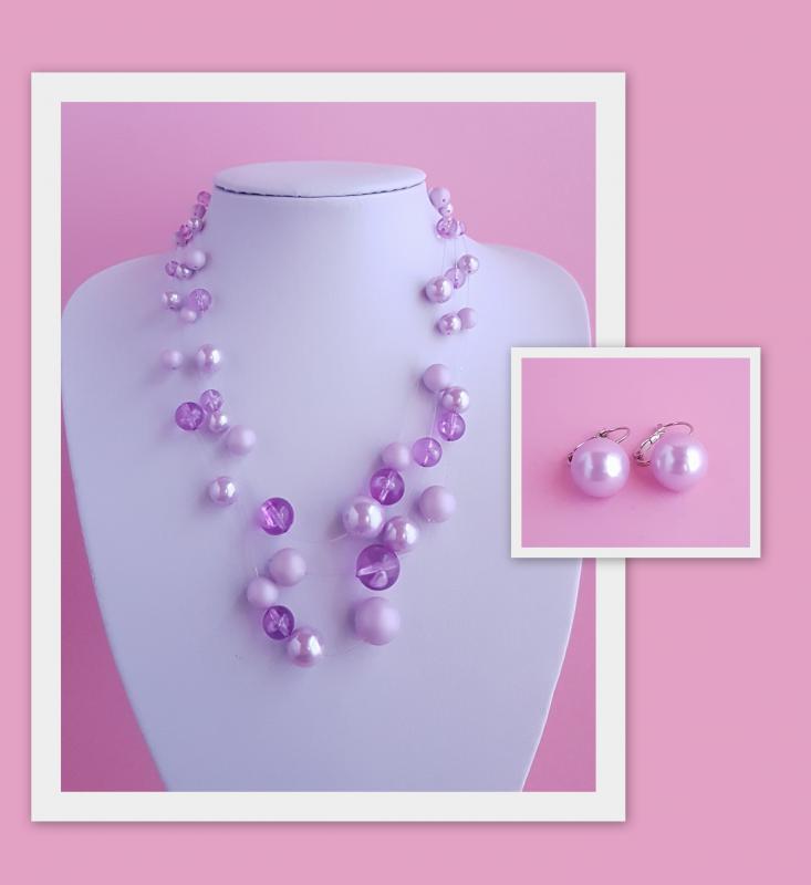 lila gyöngyökből álló nyaklánc + hozzá illő fülbevaló