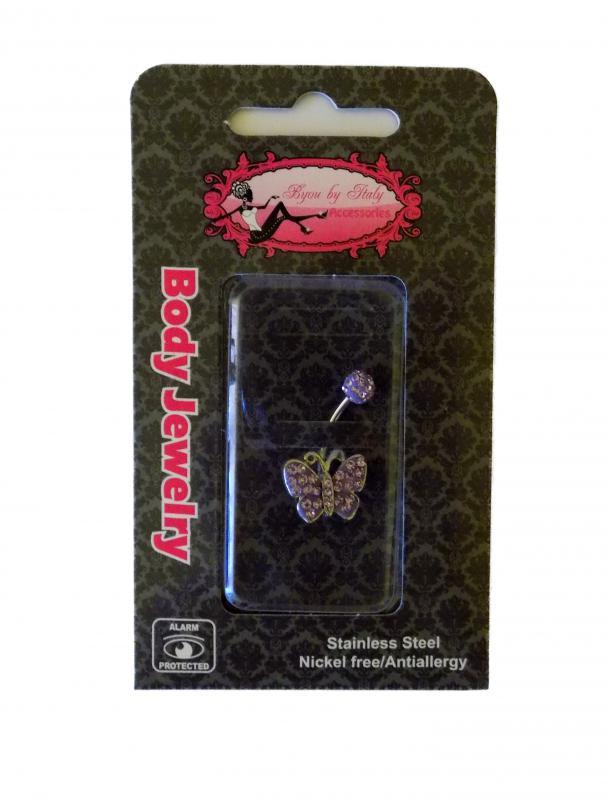 lila, strasszos pillangó köldök piercing