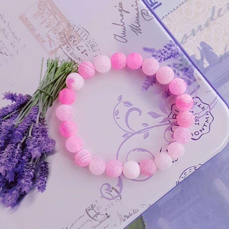 repesztett achát karkötő - rózsaszín