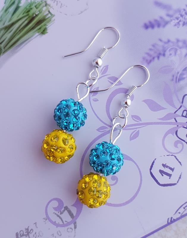 shamballa fülbevaló /kék-sárga/