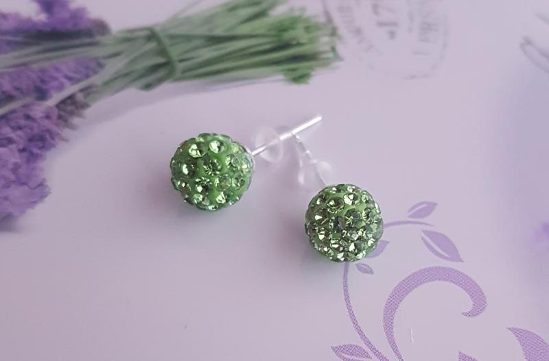 shamballa gyöngy fülbevaló - zöld