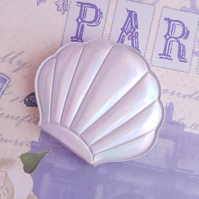 zsebtükör - kagyló (ezüst)