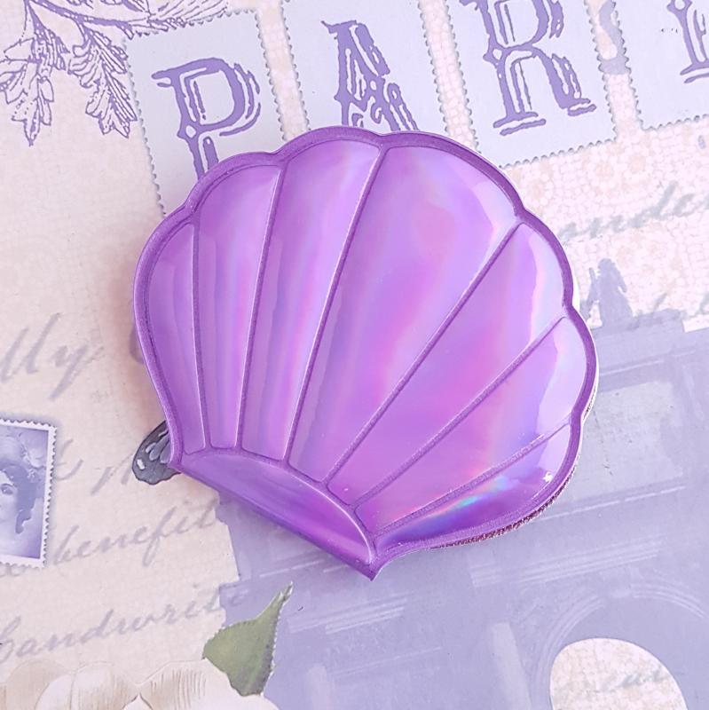 zsebtükör - kagyló (lila)