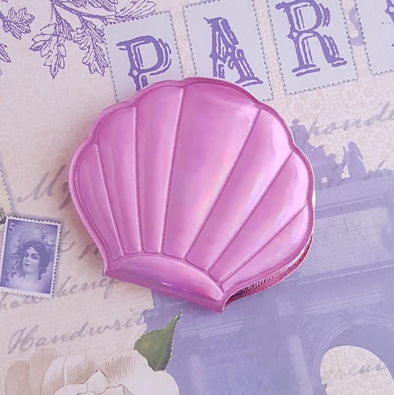 zsebtükör - kagyló (rózsaszín)