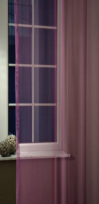 Baglyos fehér voila kész függöny lila bordűrös 100x190cm