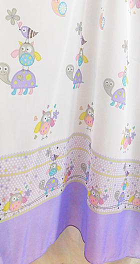 Baglyos kész függöny lila bordűrös 80x160cm