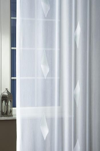 Fehér batiszt kész függöny Iglice türkisz 160x170cm