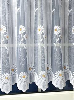 Fehér jaquard függöny margarétás 7001kb:120x200cm