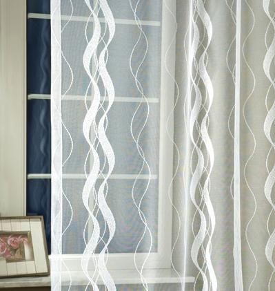Fehér jaquard vitrage függöny hullámos mintával