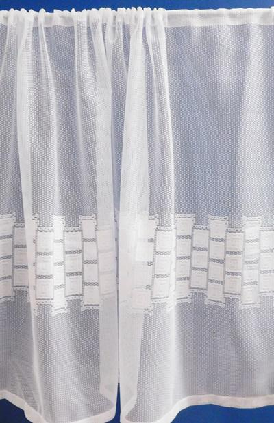Fehér jaquard vitrage függöny kockás 70x170cm