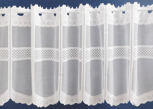 Fehér jaquard vitrage függöny méterben Csipke 30 cm magas