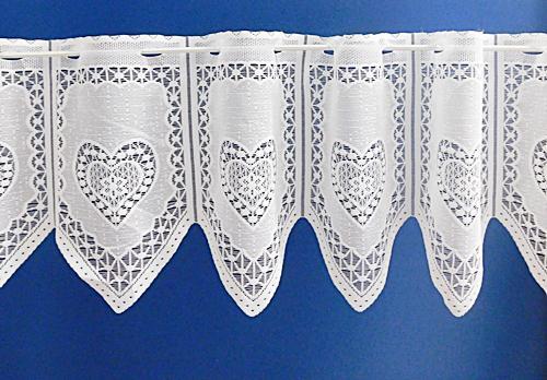 Fehér jaquard vitrage függöny szivecskés méterben 30cm magas