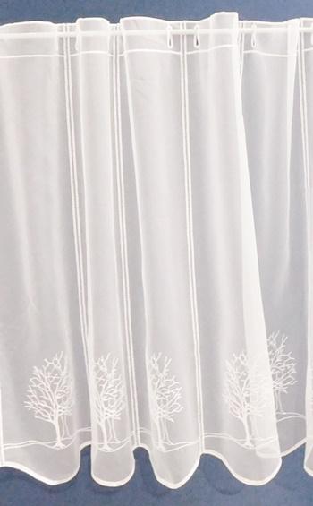 Fehér sable kész függöny drapp beszövéses bordűrös