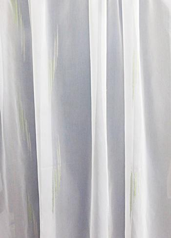 Fehér sable kész függöny halvány zöld-drapp mintával/140x100cm
