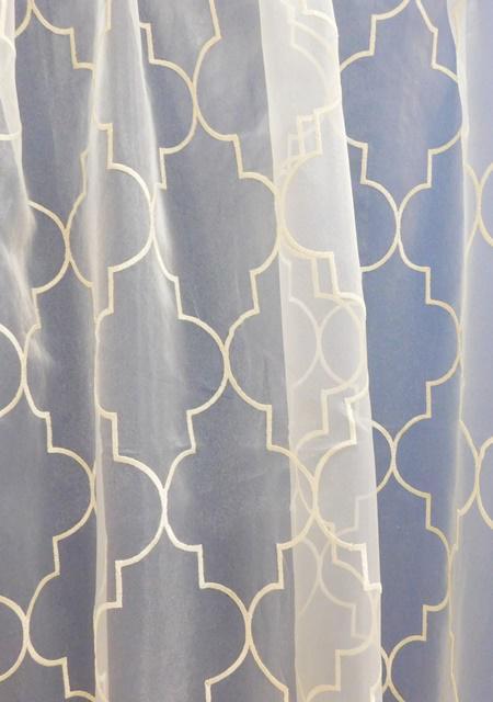 Fehér voila kész függöny barna drapp nyírt mintával A.C.H./110/