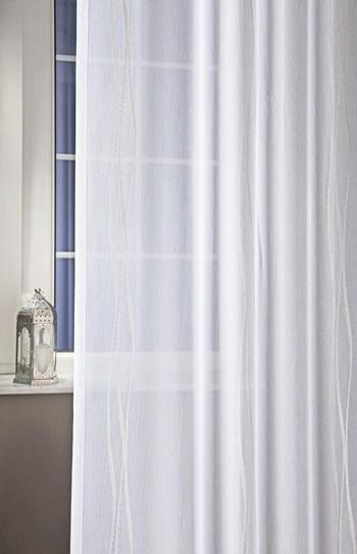 Fehér voila kész függöny barna drapp nyírt Szirom/120x120cm