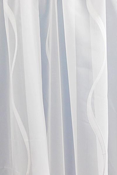 Fehér voila kész függöny fehér nyírt mintával Hullám/150x130cm