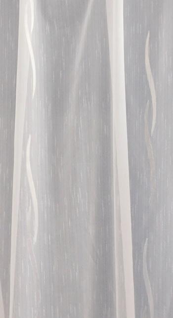 Fehér voila kész függöny füles zöld bordűrös 120x120cm