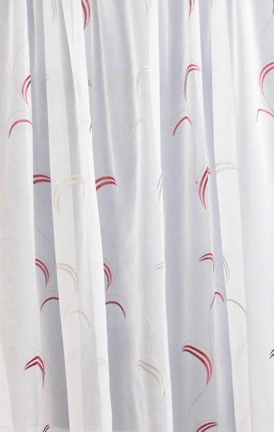Fehér voila kész függöny hímzett bordó ezüst 200x300cm