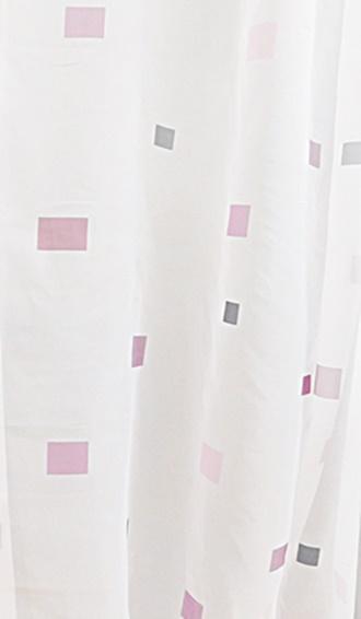 Fehér voila kész függöny lila szürke kockás 130x160cm