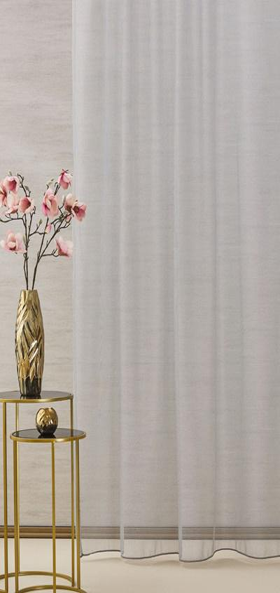 Fehér voila kész függöny Olívia barna drapp virág