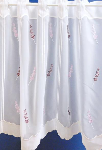 Fehér voila kész függöny sárga beszövéses/100x110cm