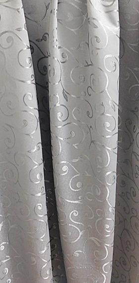 Fehér voila kész függöny szürke mintával Tagl 90x100cm
