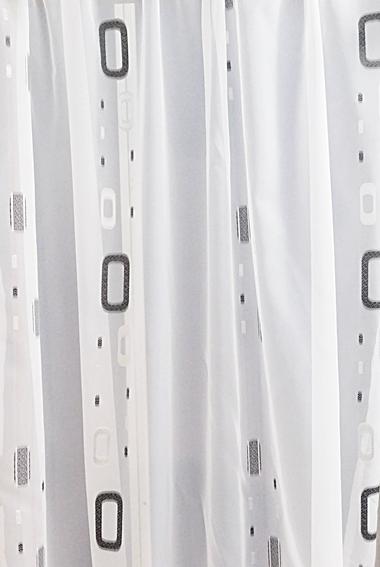 Fehér voila kész függöny szürke nyírt mintával Ovál/100x130cm/