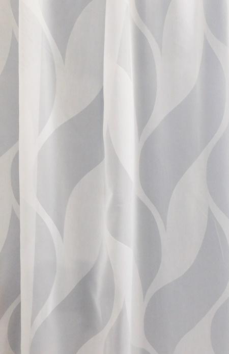 Fehér voila kész függöny szürke nyírt mintával Ovál/160x120cm