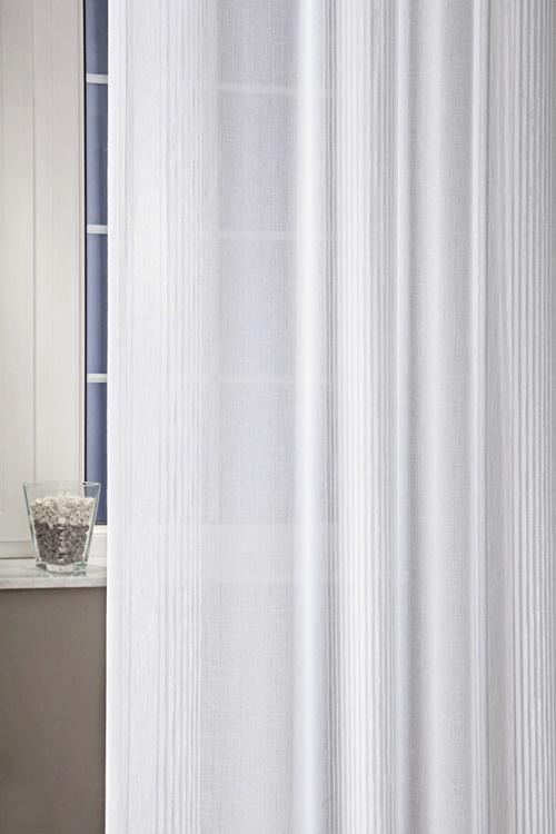 Fehér voila kész függöny szürke nyírt mintával Ovál/250x150cm