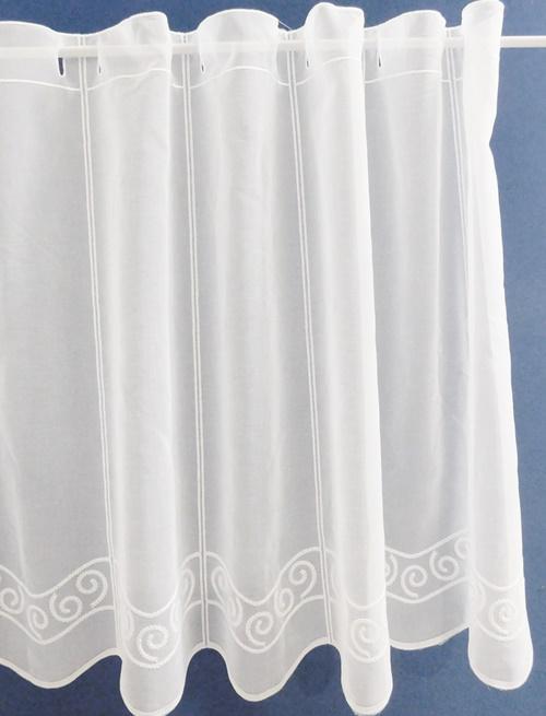 Fehér voila kész függöny zöld nyírt mintával Hullám 140x90cm